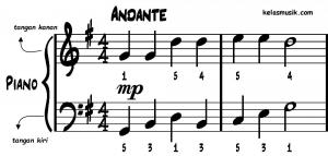 tangan kanan dan kiri partitur piano